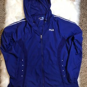 FILA WOMEN BLUE GYM WORKOUT JACKET WITH HAT SIZE L